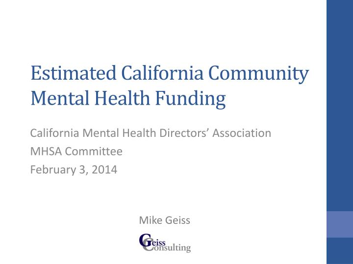 estimated california community mental health funding