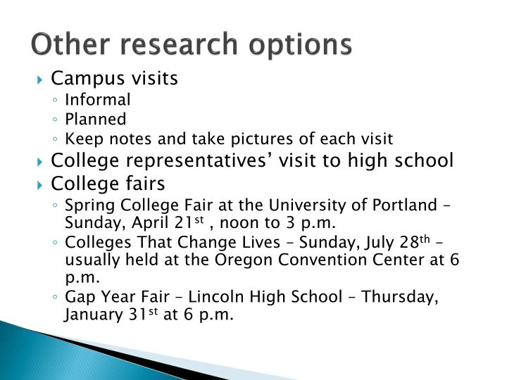 Other research options