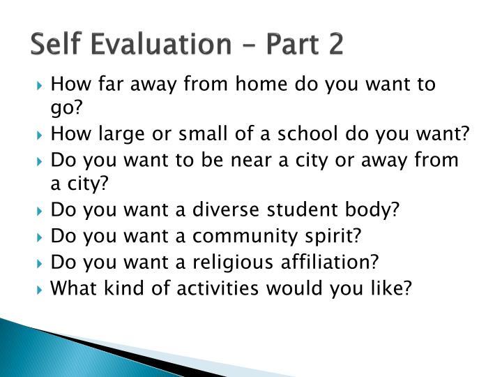 Self Evaluation – Part 2