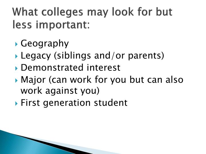 What colleges may look for but less important: