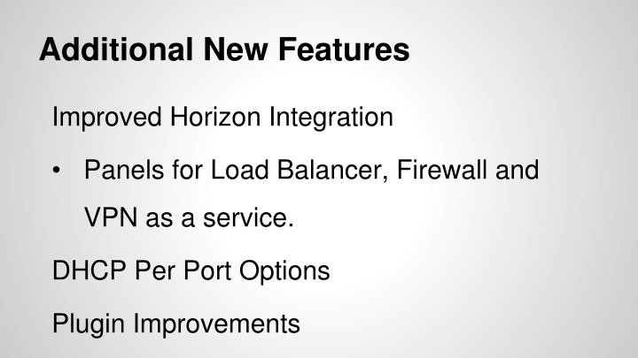 Additional New Features