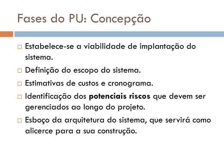 Fases do PU: Concepção
