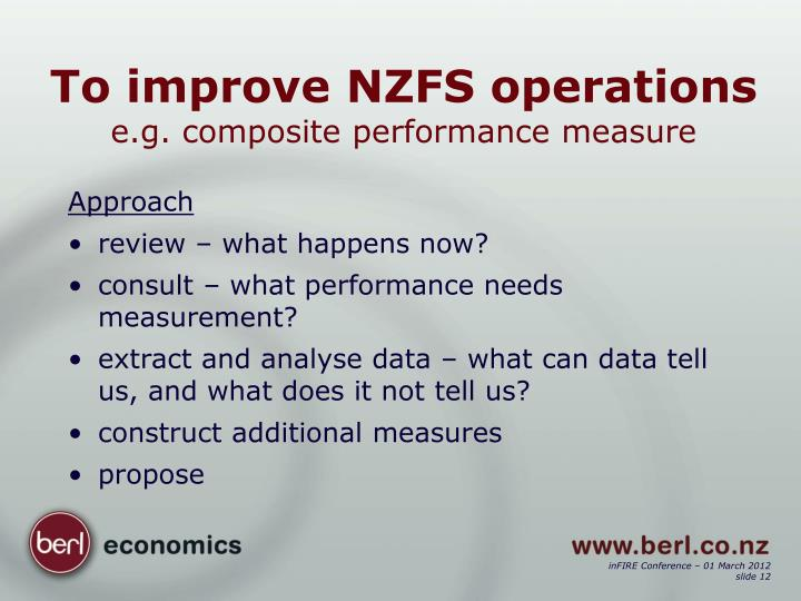 To improve NZFS operations