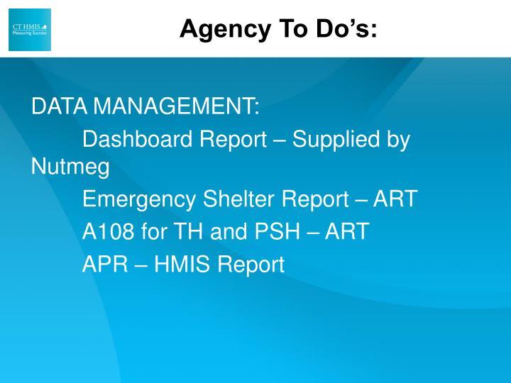 Agency To Do's: