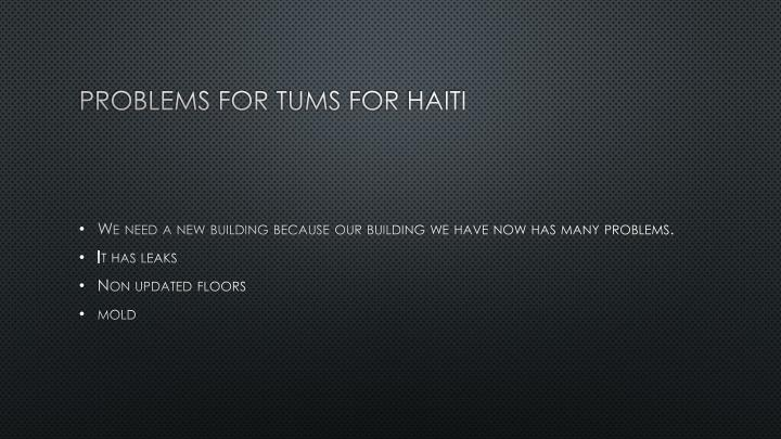 Problems for tums for