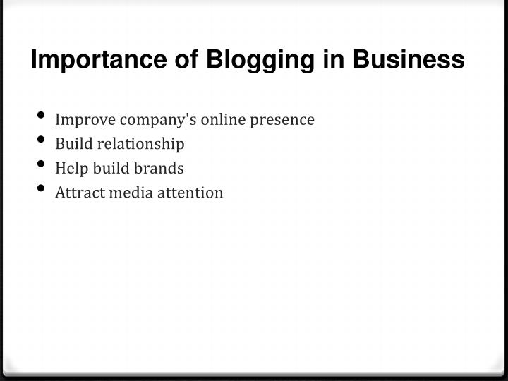 Importance of Blogging in Business