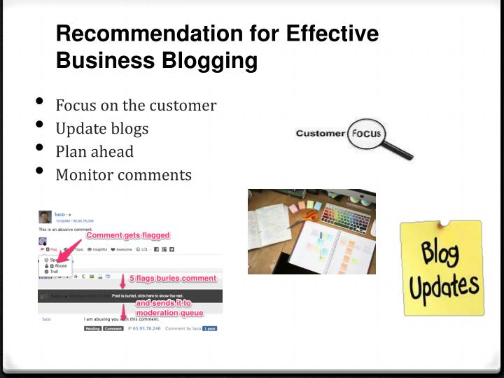 Recommendation for Effective Business Blogging