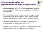 newton raphson method approximation error and convergence rate