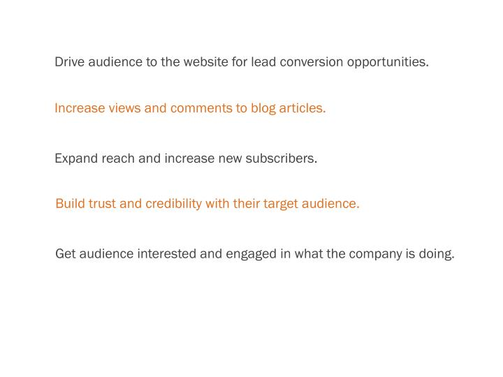 Drive audience to the website for lead conversion