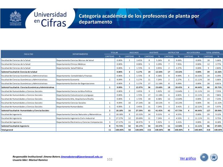 Categoría académica de los profesores de planta por departamento