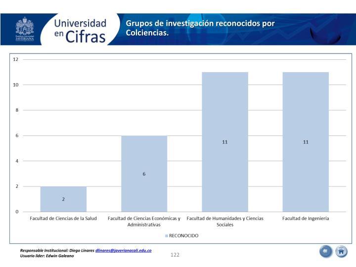 Grupos de investigación reconocidos por Colciencias.
