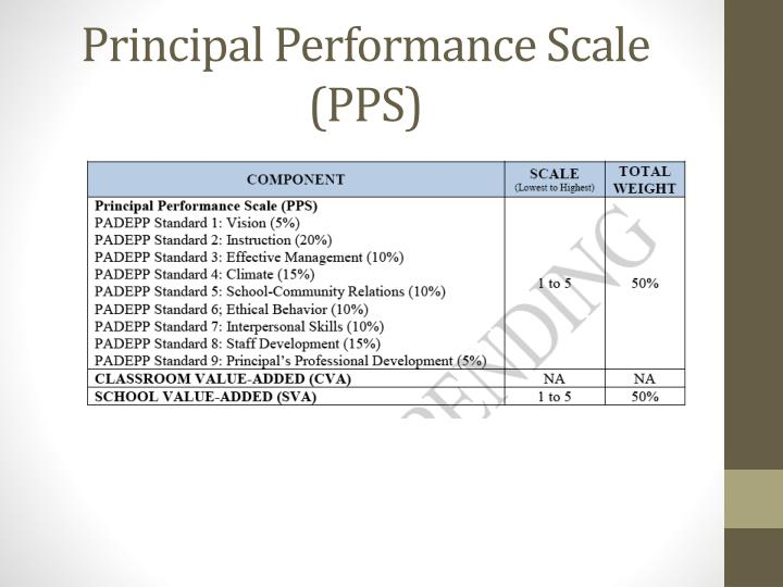 Principal Performance Scale (PPS)
