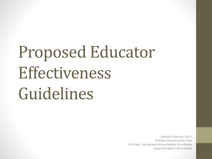 Proposed educator effectiveness guidelines