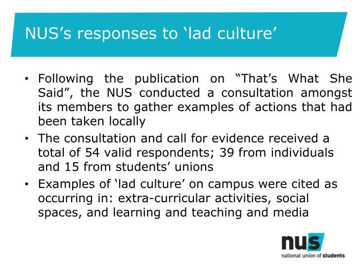 NUS's responses to 'lad culture'
