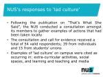 nus s responses to lad culture