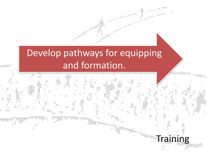 Develop pathways for equipping and formation.