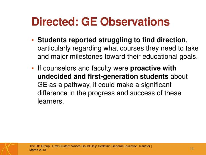 Directed: GE Observations