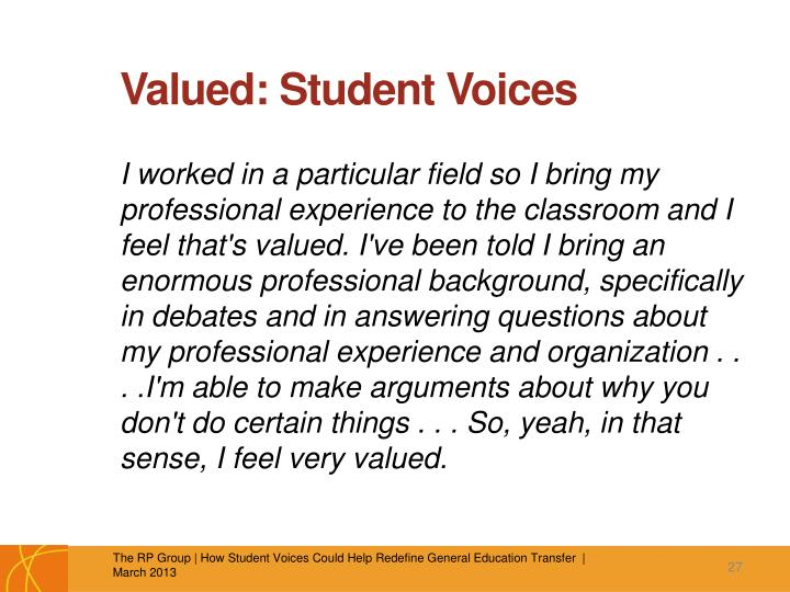 Valued: Student Voices
