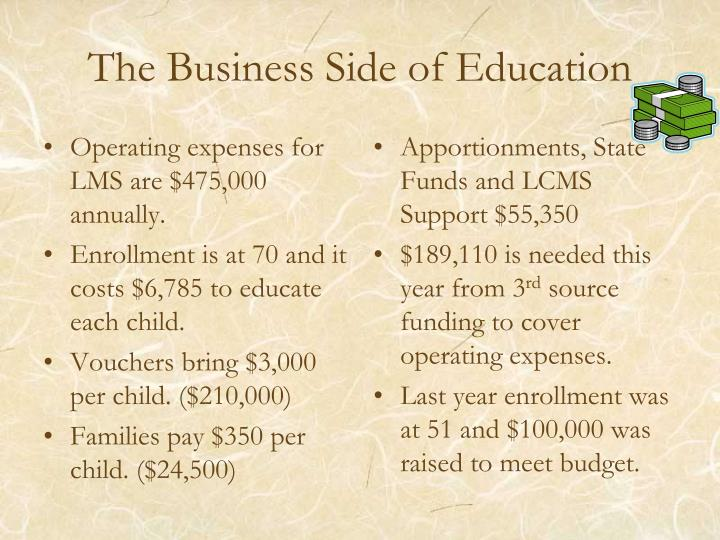 The Business Side of Education