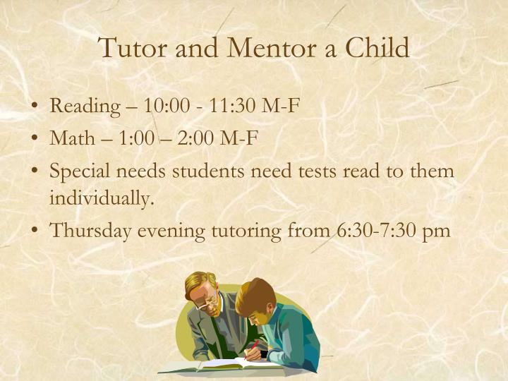 Tutor and Mentor a Child