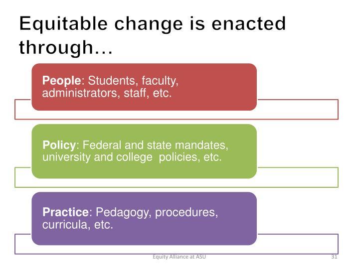 Equitable change is enacted through…