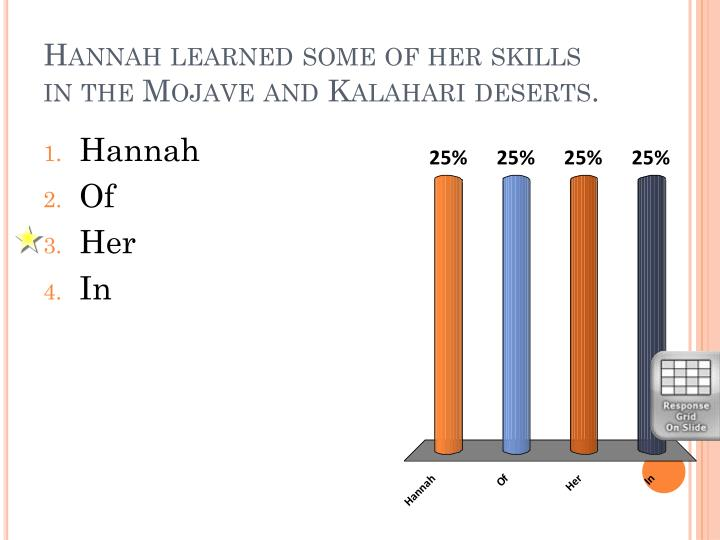 Hannah learned some of her skills in the Mojave and Kalahari deserts.