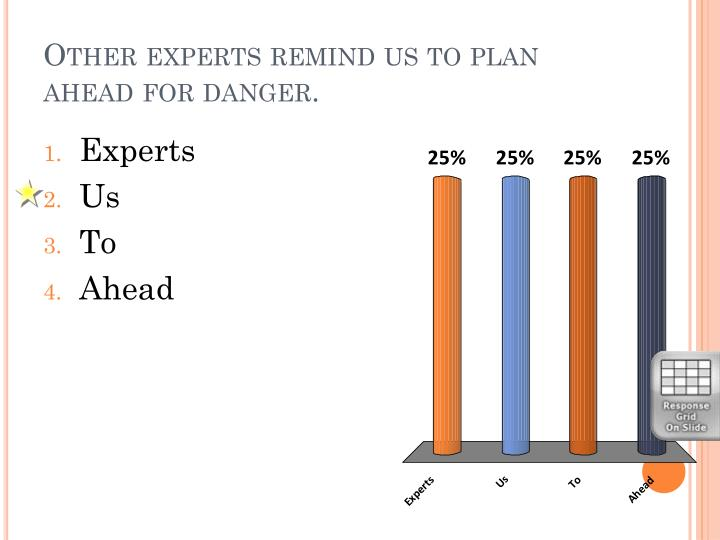 Other experts remind us to plan ahead for danger.