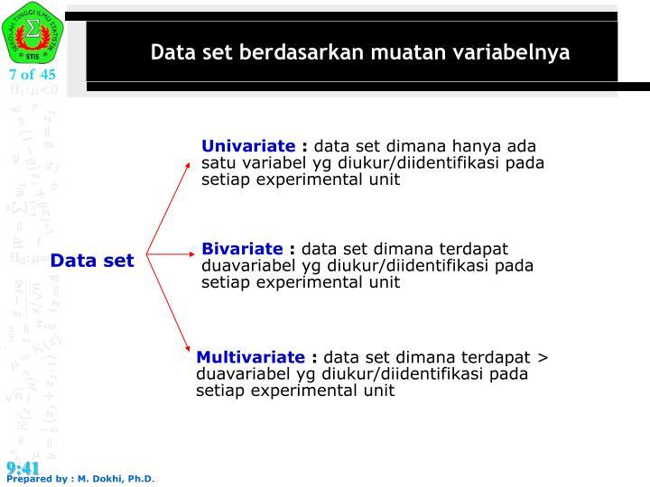 Data set berdasarkan muatan variabelnya