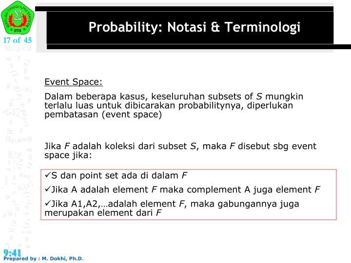 Probability: Notasi & Terminologi