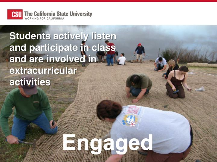 Students actively listen and participate in class and are involved in extracurricular activities