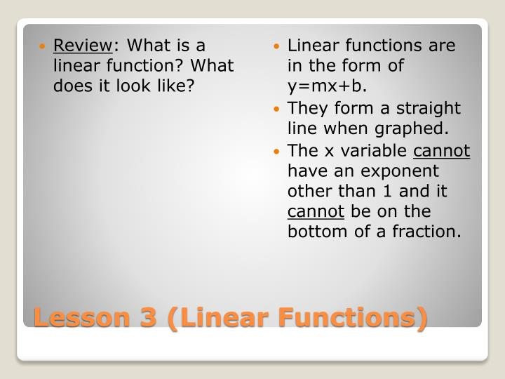 lesson 3 linear functions