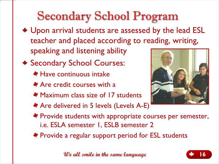 Secondary School Program