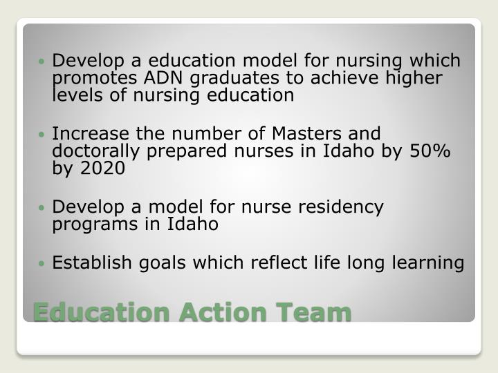 Develop a education model for nursing which promotes ADN graduates to achieve higher levels of nursing education