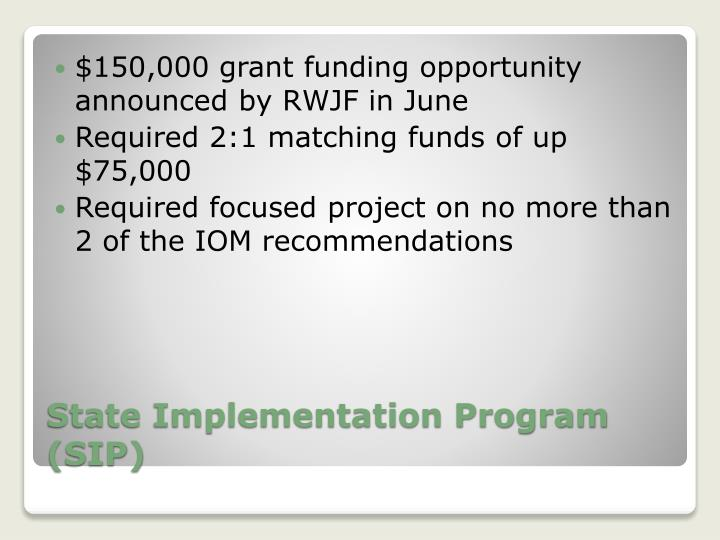 $150,000 grant funding opportunity announced by RWJF in June