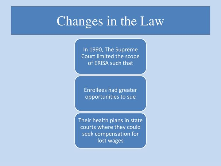 Changes in the Law