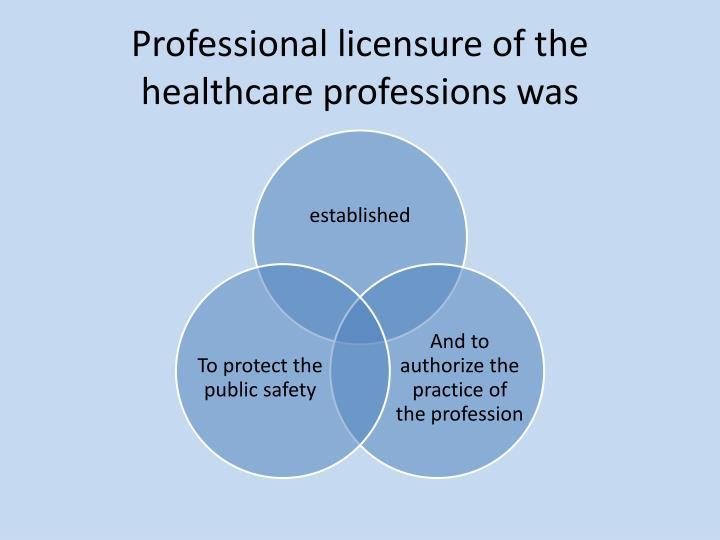 Professional licensure of the healthcare professions was