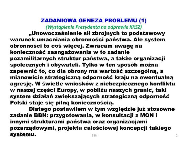 ZADANIOWA GENEZA PROBLEMU (1)