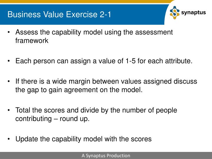 Business Value Exercise 2-1