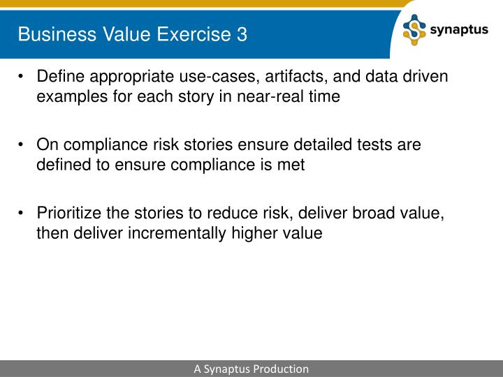 Business Value Exercise 3