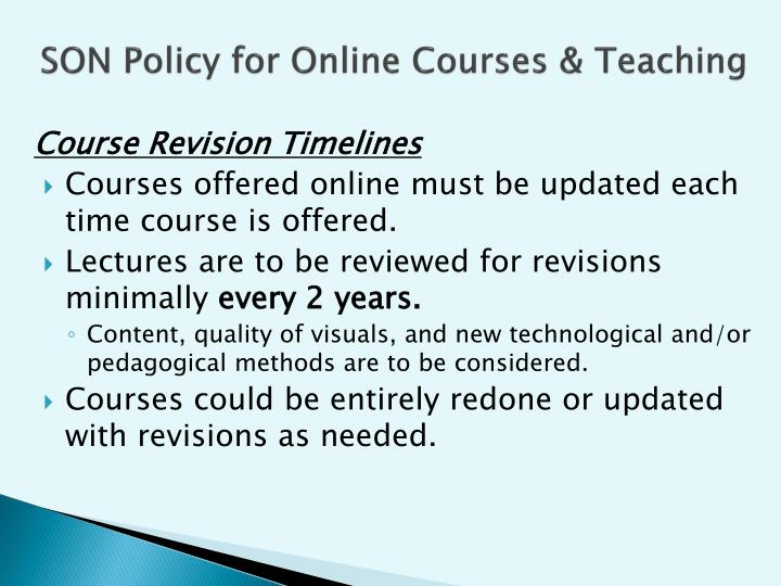 SON Policy for Online Courses &