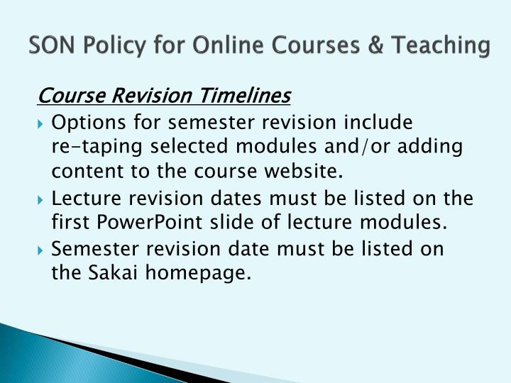 SON Policy for Online Courses & Teaching