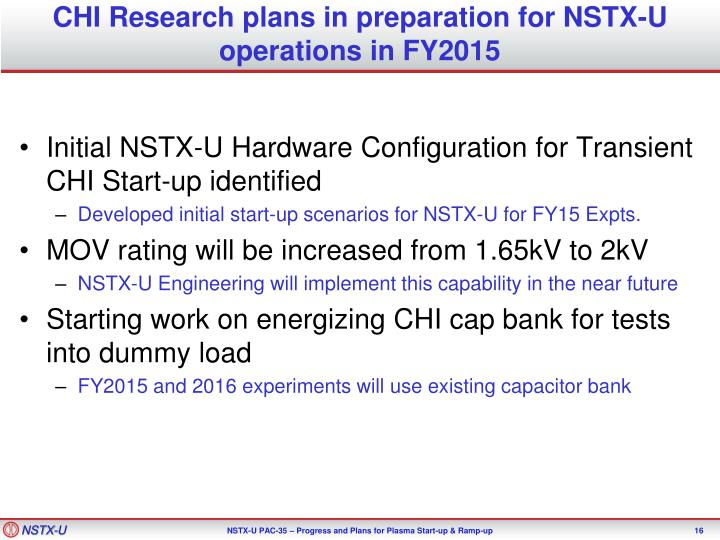 CHI Research plans in preparation for NSTX-U operations in FY2015