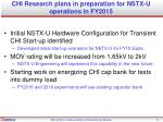 chi research plans in preparation for nstx u operations in fy2015