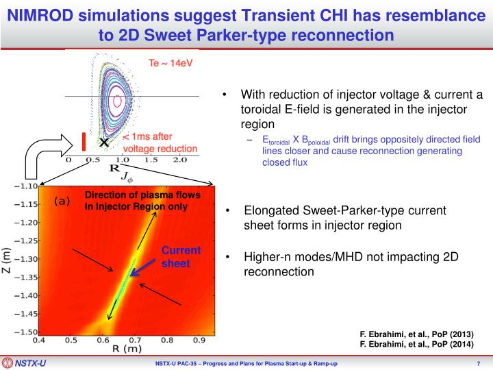 NIMROD simulations suggest Transient CHI has resemblance to 2D Sweet Parker-type reconnection