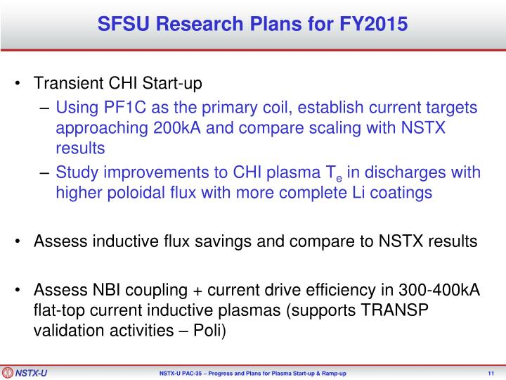 SFSU Research Plans for FY2015