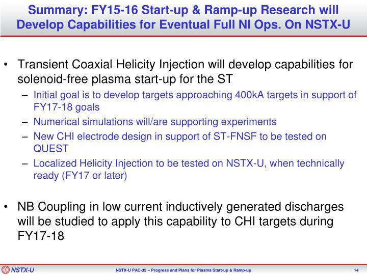 Summary: FY15-16 Start-up