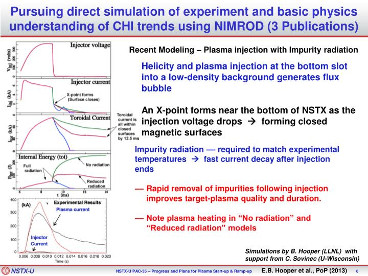 Pursuing direct simulation of experiment and basic physics understanding of CHI trends using NIMROD (3 Publications)