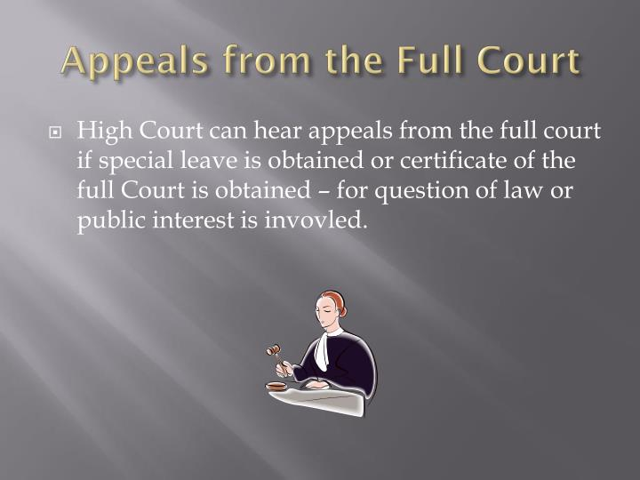 Appeals from the Full Court