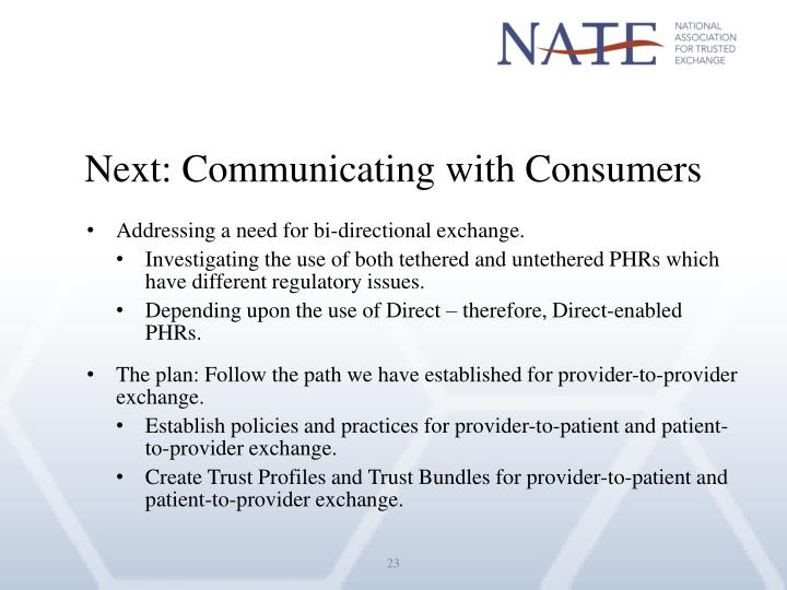Next: Communicating with Consumers