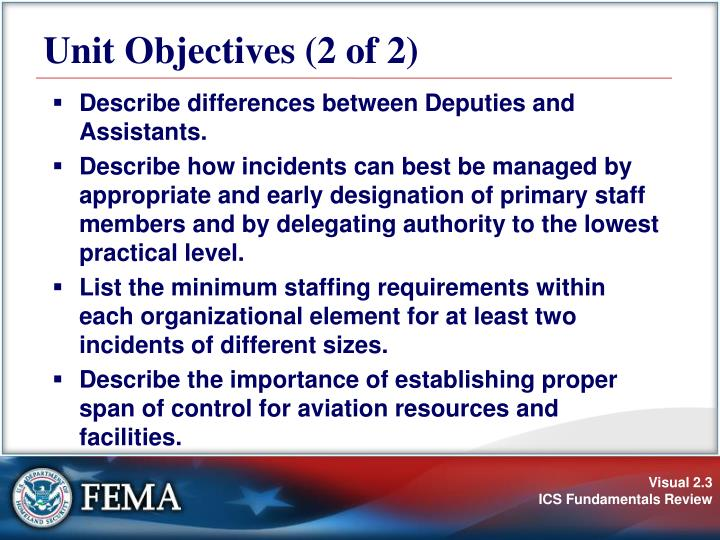 Unit Objectives (2 of 2)